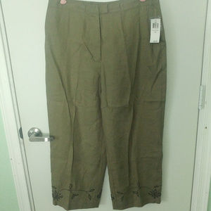 NWT STYLE & CO GREEN LINEN & EMBROIDERED PANTS 14